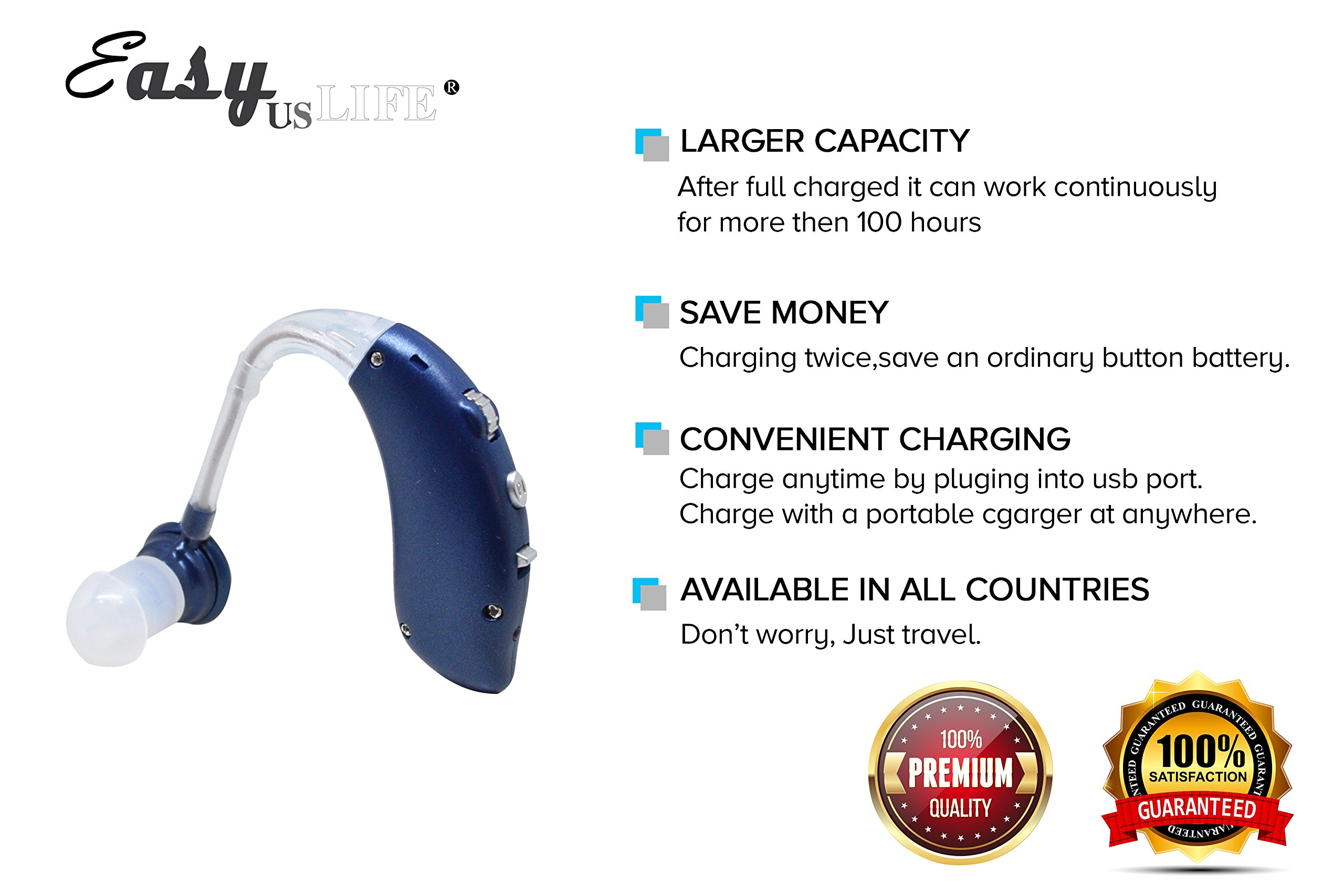 Dark Blue,New behind-the-ear (BTE) Digital Hearing Ear Amplifier Kit By EASYUSLIFE, Rechargeable and Interchangeable, Adjustable Volume Control, Suitable For Men and Women by EASYUSLIFE (Image #3)