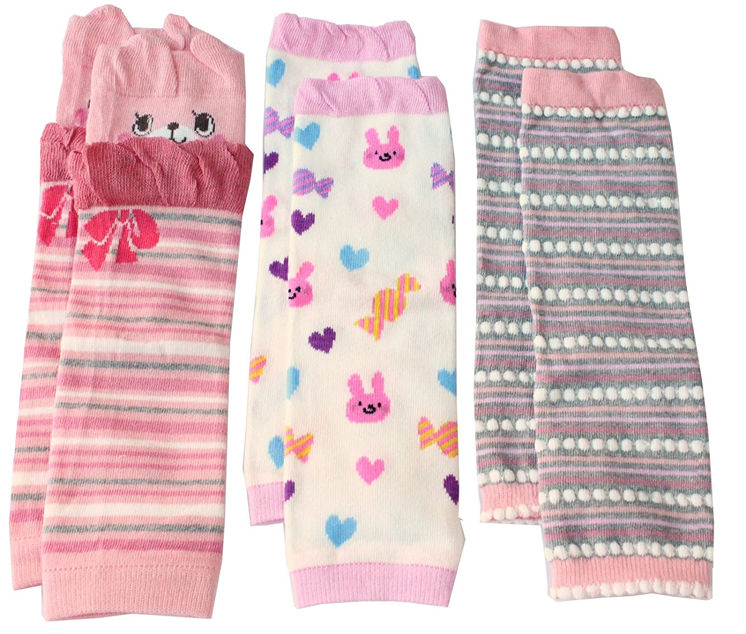 Colourful Baby World Little Girls' Leg Warmers Pack Of 3 Pink Red Gift Set