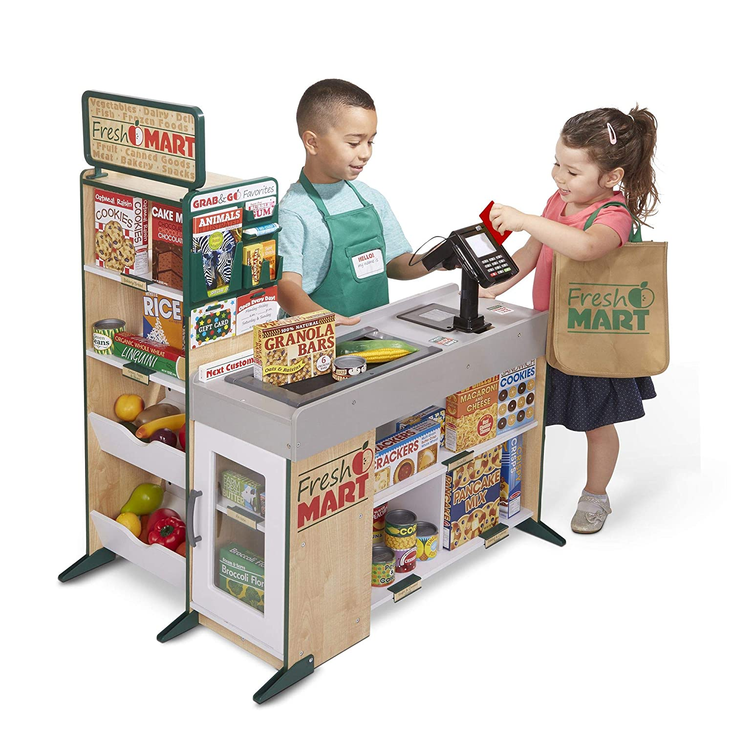 Amazon.com: Melissa & Doug 15183 Food And Role Play (84 Pcs) Fresh Mart Grocery Store Companion Set,: Toys & Games