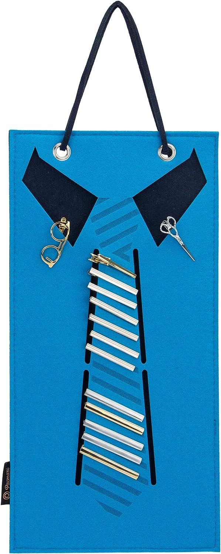 PACMAXI Mens Tie Clips Hanging Organizer, Tie Bar Clips Holder, Skinny Tie Tack Clip Storage Roll for Boys, Tie Clips Bar Pinch Clip Display Storage Case.