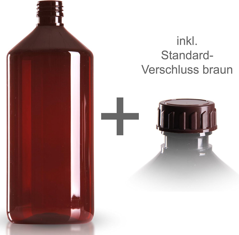 10 x Pet botella 1000 ml marrón/medicinal Incluye estándar de rosca marrón DIN 28/de Botellas de PET/medicinal botellas/marrón botella/Botella de plástico marrón botellas//Sirup botellas: Amazon.es: Belleza