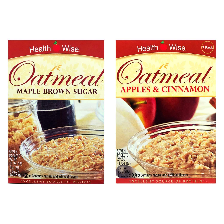 Healthwise - Maple Brown Sugar & Apple Cinnamon Oatmeal (2 Pack) - High Protein, Low Calorie, Low Sugar, 7 Servings Per Box