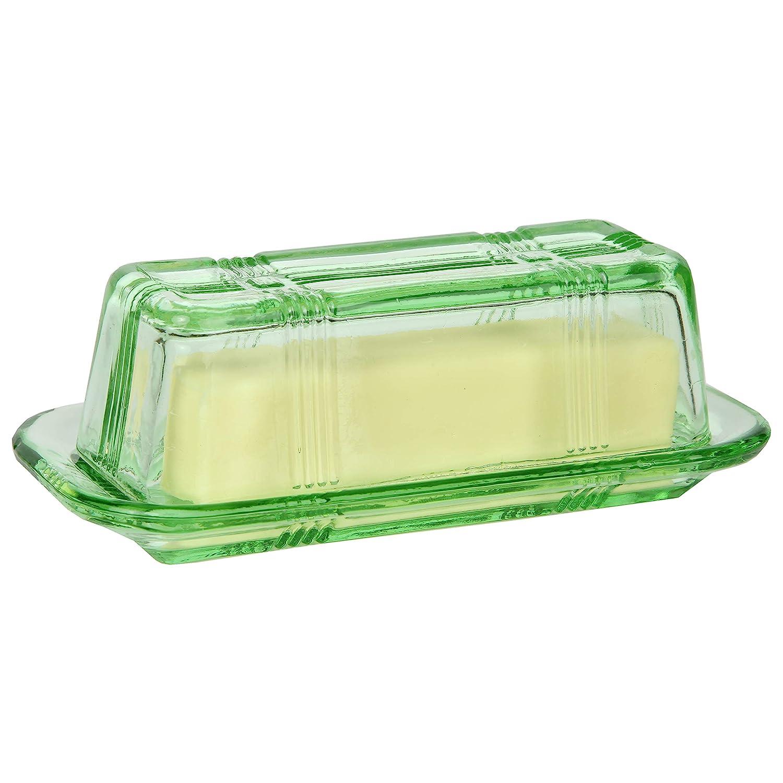 Wedding Gift Retro Kitchen Decor Trenton Gifts Green Depression-Style Glass Butter Dish