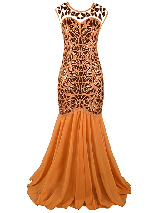 Women 's Black Sequin Gatsby Maxi Long Evening Prom Dress