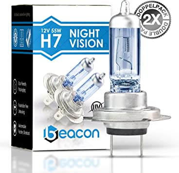 Beacon Night Vision Headlight Bulb Pack Of 2 Bulbs Fits In All Cars With Corresponding Socket Suitable For Low And High Beam Includes Street Legal In The Eco Friendly H7 Amazon De Auto