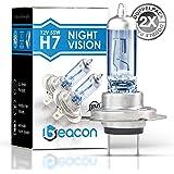 Beacon H7 Nachtsichtscheinwerferlampe, passend für alle Fahrzeuge mit H7 PX26D Buchse, 12 V 55 W, für Abblendlicht und Fernlicht von 2 Stück
