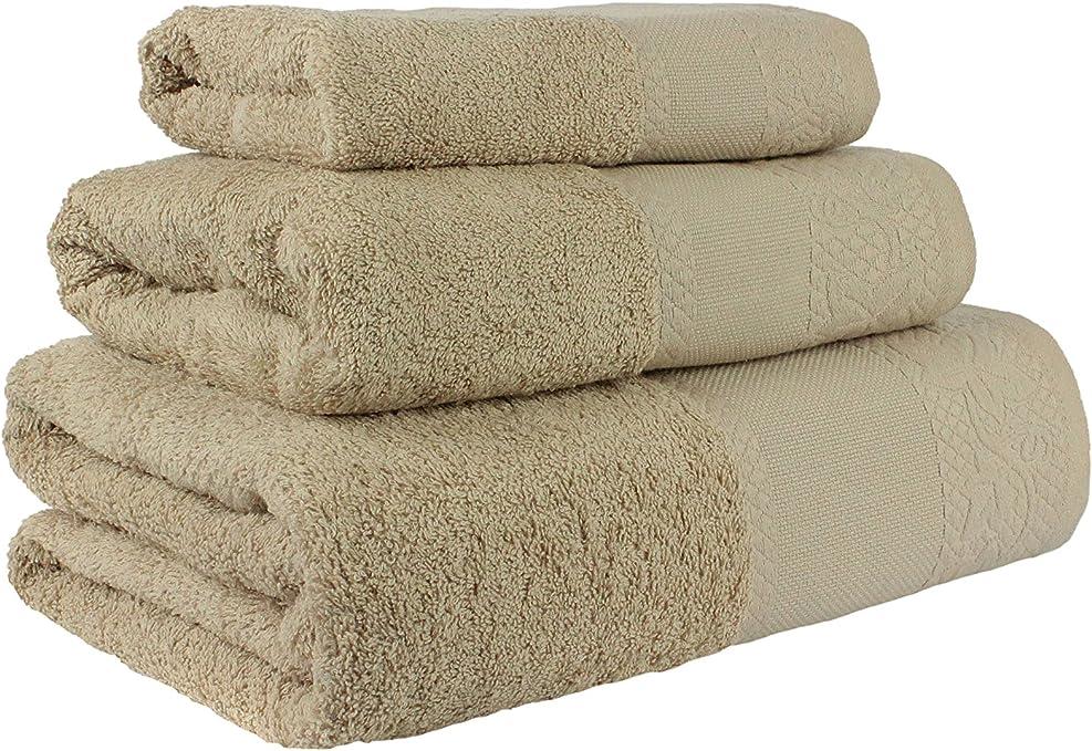 Flor de Algodón Panama Juego de 3 toallas algodón, ARENA, 30x50 ...