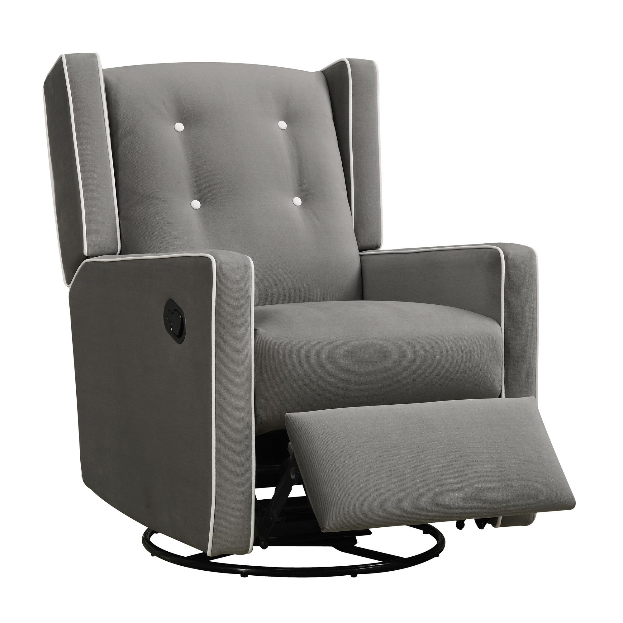 Baby Relax Mikayla Swivel Gliding Recliner, Gray Microfiber by Baby Relax (Image #1)
