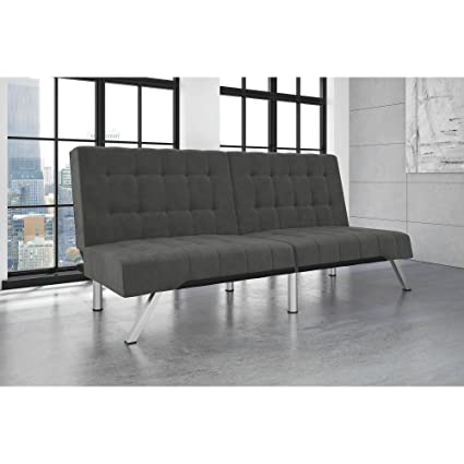 Gray Linen Modern Convertible Futon, Sofa Sleeper, Bed with Chrome Legs,  Living Room Furniture, Made from Metal, Click-Clack Technology, Bundle with  ...