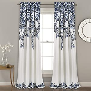 "Lush Decor Navy and White Tanisha Curtains Room Darkening Floral Vine Print Design Window Panel Set (Pair), 95"" x 52"""