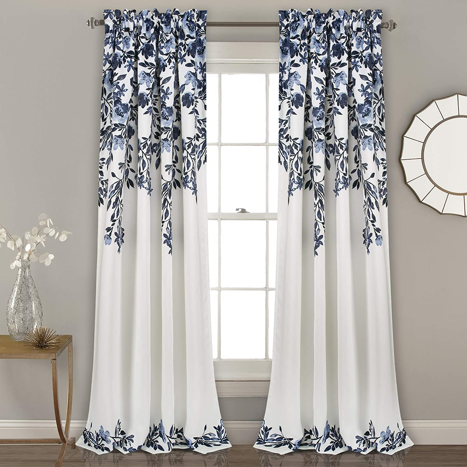"Lush Decor Tanisha Curtains | Room Darkening Floral Vine Print Design Window Panel Set (Pair), 84"" x 52"" -Navy and White, Navy & White"