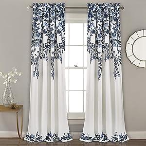 "Lush Decor Tanisha Curtains | Room Darkening Floral Vine Print Design Window Panel Set (Pair), 84"" x 52"" -Navy and White, Navy & White"