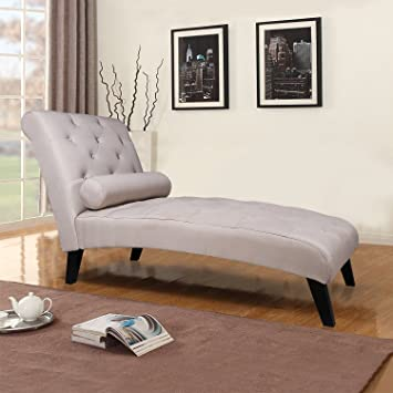 Merax Fabric Chaise Lounge Chair Leisure Sofa Living Room Sleeper Bed (Grey)