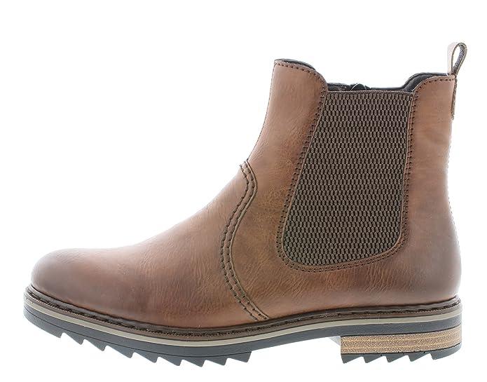 3 Stiefel schlupfstiefel stiefelette Damen Rieker X1473 blockabsatz Boots 3cm Chelsea bootie flach halbstiefel frauen Ivbfg6yY7