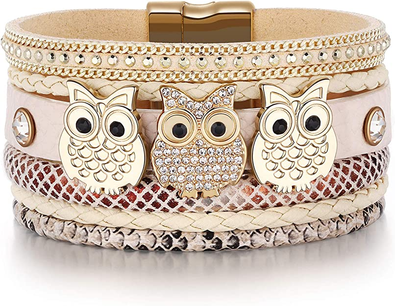 Women's Owl Leather Bracelet