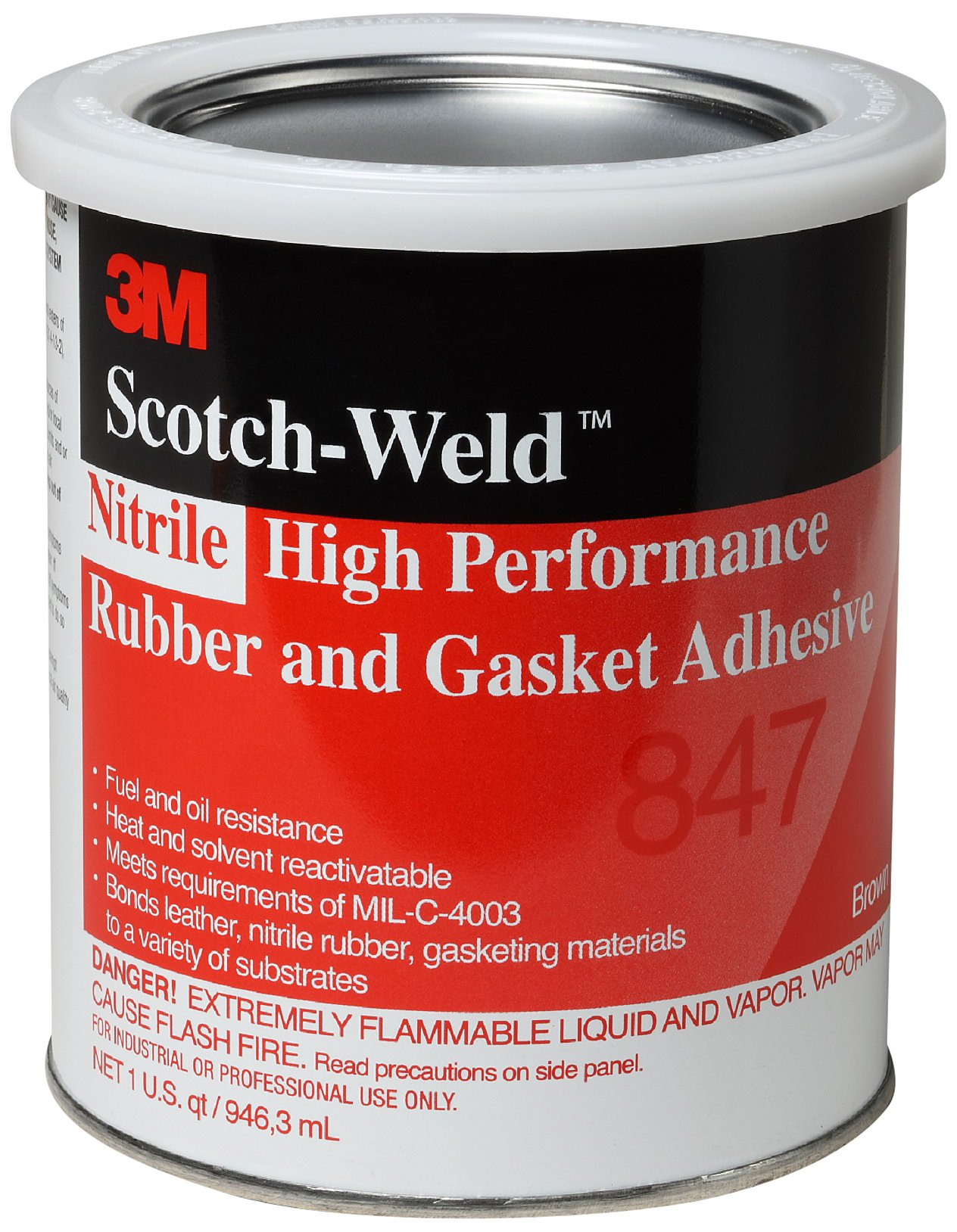 3M 847 Scotch-Grip Rubber & Gasket Adhesive, Brown 1 Qt. Can (Pack of 1)