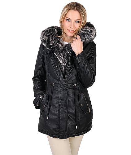 KRISP Abrigo Mujer Capucha Elegante Otoño Invierno Parca Trenca Negro