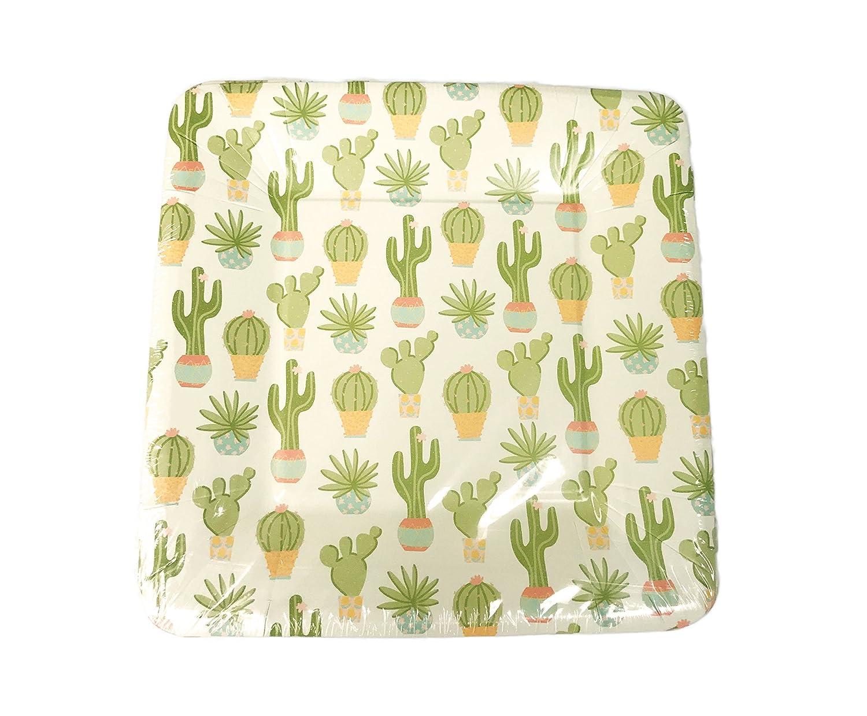 Multi Potted Cacti /& Succulent Plants Themed Appetizer Dessert Party Paper Plates 16 Count