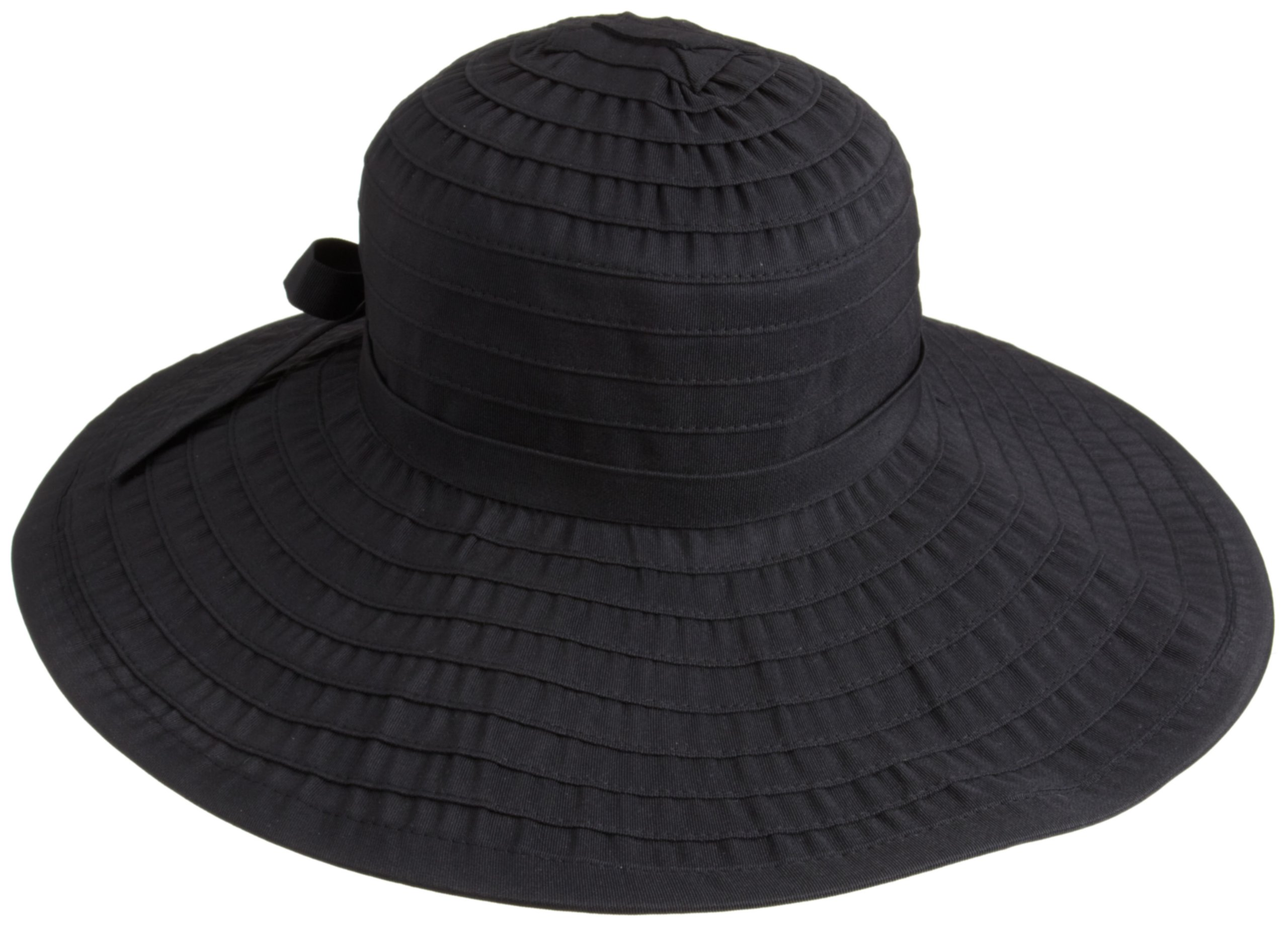 San Diego Hat Company Women's Ribbon Large Brim Hat,Black,One Size by San Diego Hat Company