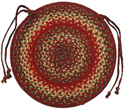 Homespice D?cor Jute Braided Chair Pad 15u0026quot;/Round/Red