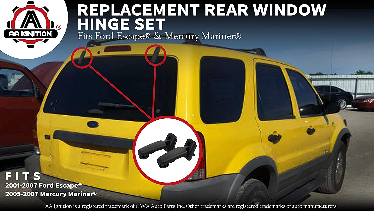 Rear Window Hinge Liftgate Glass Hinge Set Right /& Left Pair for 2001-2007 Ford Escape 2005-2007 Mercury Mariner Replace # YL8Z-78420A68-BA YL8Z-78420A69-BA