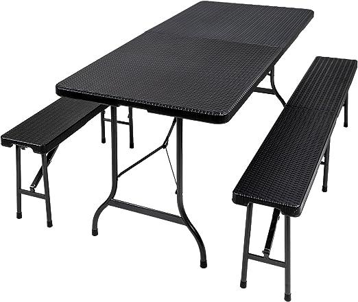 TecTake Conjunto Mesa y Bancos Plegables Muebles para Camping ...
