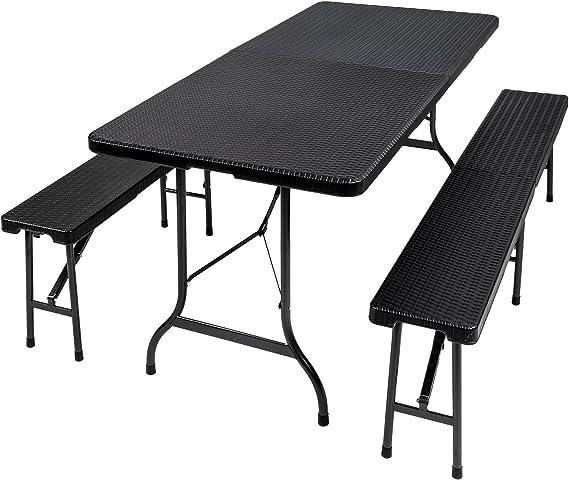 TecTake Conjunto Mesa y Bancos Plegables Muebles para Camping Picnic (Negro   no. 402209)