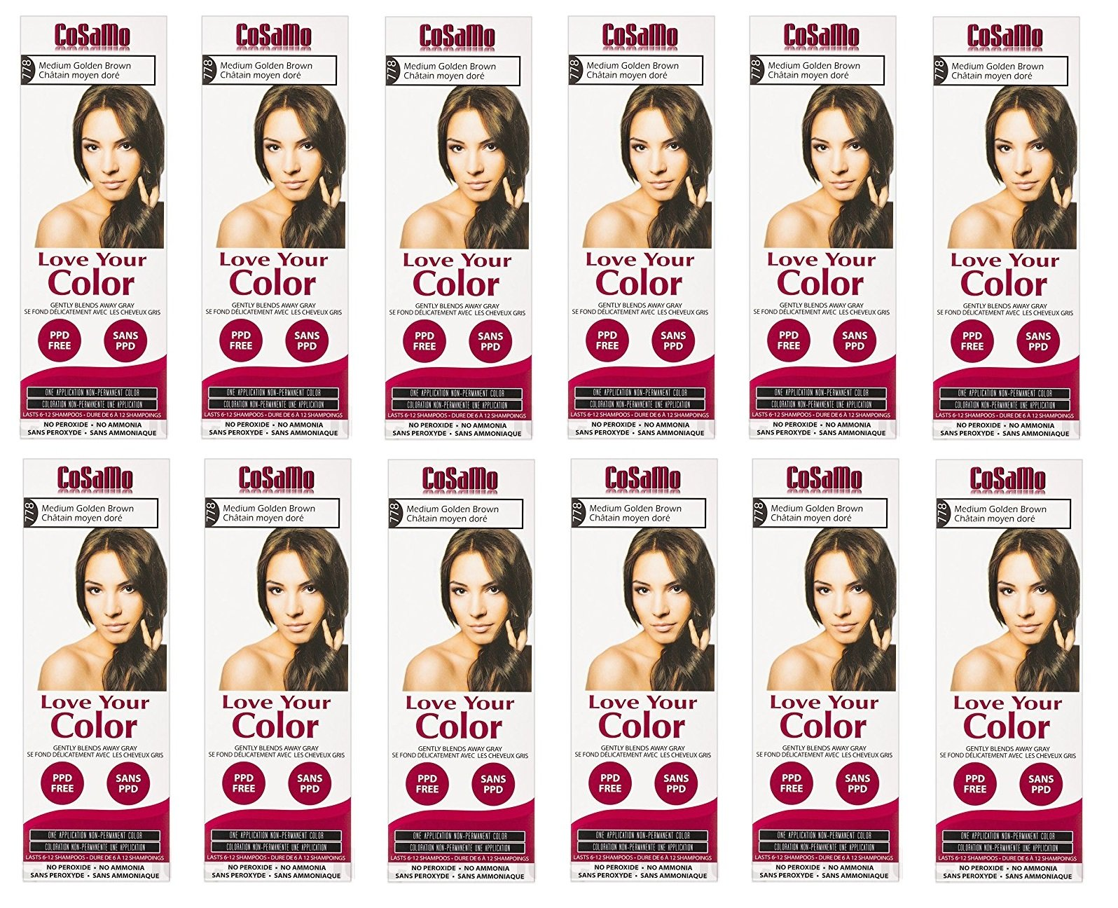 CoSaMo - Love Your Color Non-Permanent Hair Color 778 Medium Golden Brown - 3 oz. (Pack of 12) + FREE Travel Toothbrush, Color May Vary