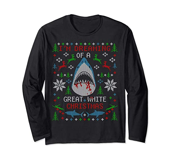 Amazoncom Great White Shark Ugly Christmas Sweater Party Long