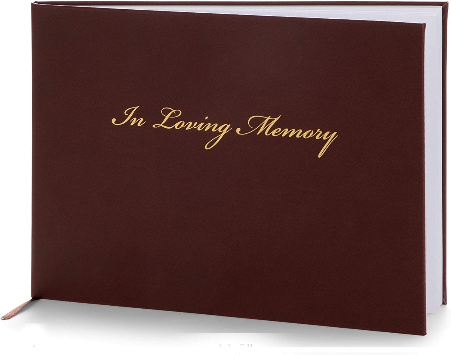 Heart & Homage Funeral and Memorial Guest Sign-in Book | PU Leather Hardcover, Large - Beautiful | Registration Books - in Loving Memory | 80 Guests (Burgundy)