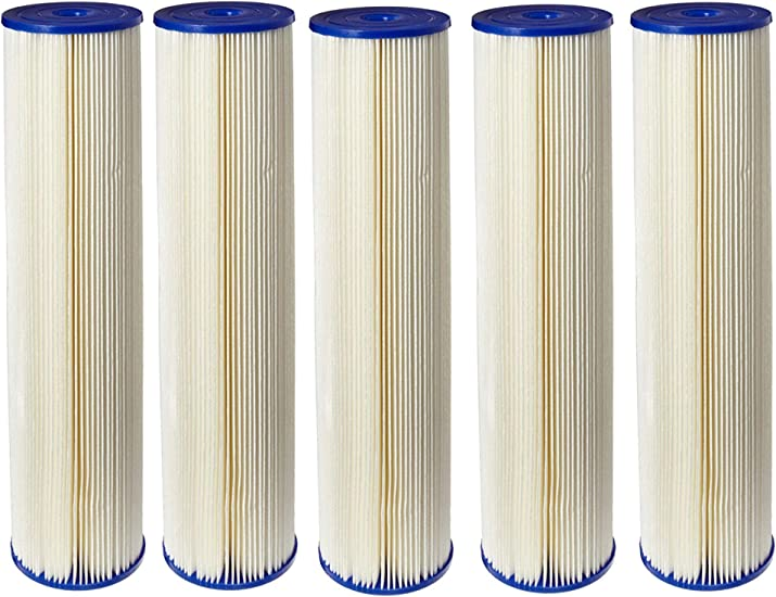 6 Pack SpiroPure Replacement for Pentek ECP5-20BB 255494-43 20x4.5 Pleated Cellulose 5 Micron Sediment Filter