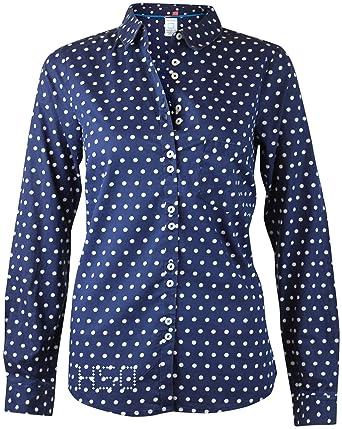 b57f902f00642 Ex White Stuff Navy White Spot Polka Dot Shirt Long Sleeved Cotton Ladies  Womens (12)  Amazon.co.uk  Clothing