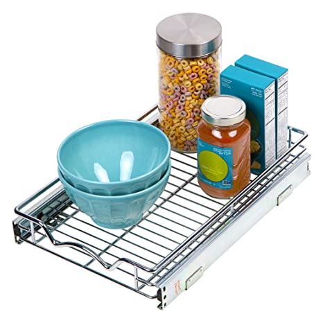 Slide Out Cabinet Organizer Chrome One Tier 11 W X 18 D X 3 2 H Requires At Least 12 Cabinet Opening Slide Out Kitchen Cabinet Organizer