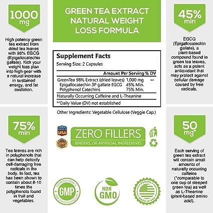 Amazon.com: Extracto de té verde de máxima potencia 98% con ...