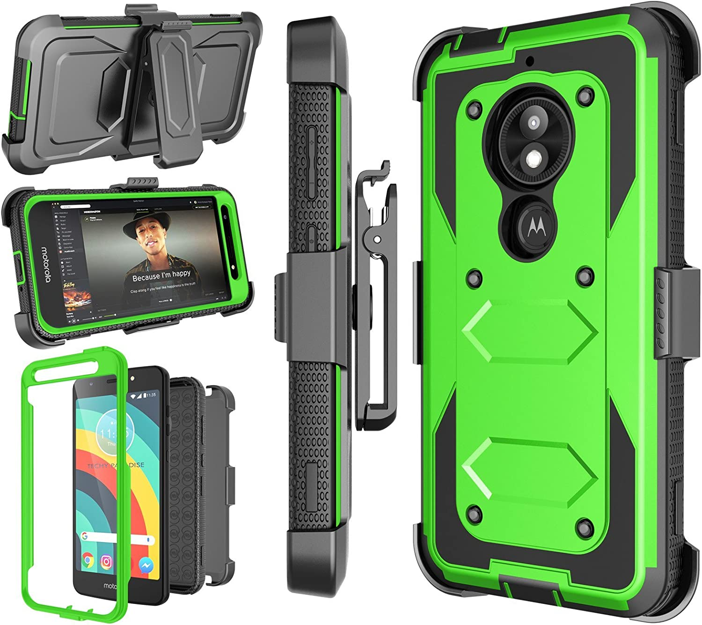 Motorola Moto E5 Play Case, Moto E5 Cruise/Moto E5 GO Holster Clip, [Nbeck] Shockproof Heavy Duty Built-in Screen Protector Rugged Locking Swivel Belt Clip Kickstand Hard Shell Phone Cover [Green]
