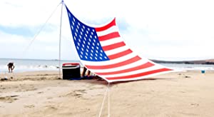 Ajeena Beach Sunshade American Flag Style – Sun Shade That Will Make You Proud – Lycra UPF50+ Perfect Canopy Tent for Kids & Family in Beach Sweepstakes