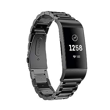 HEYSTOP Compatible Fitbit Charge 3 Bandas,Correa de Repuesto de Metal Ajustable para Fitbit Charge 3 Smart Watch (Negras)