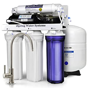 iSpring RCC100P 100 GPD 5-Stage Reverse Osmosis Water Filter System with Booster Pump-2:1 Waste Ratio, White