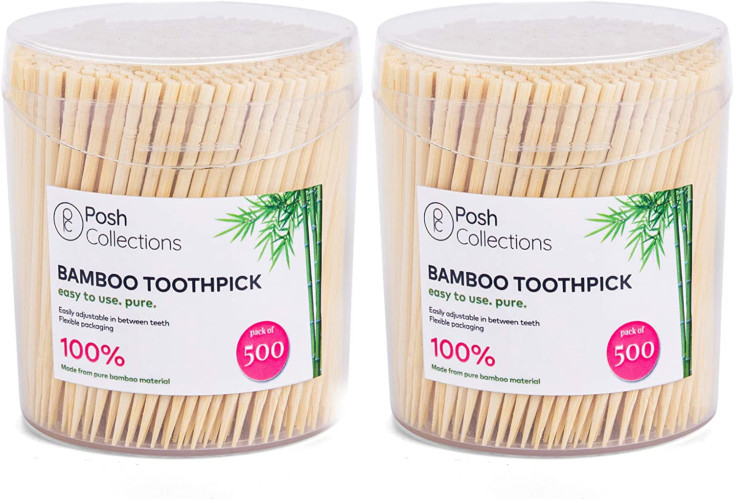 Posh Collection Bamboo Toothpicks Single Sided Wooden Toothpicks 1000-Piece Sturdy Round Tooth Picks For Teeth Cleaning, Food, Crafts In Clear Holders
