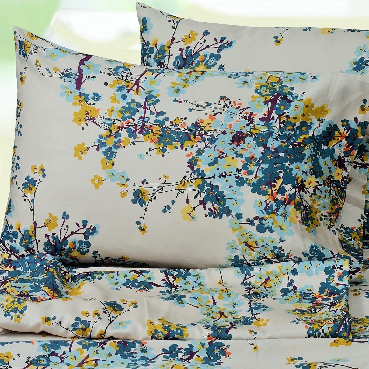 3 Pieceガールズブルーカサブランカ花柄ツインシートセット、マルチカラー花ガーデンテーマヒッピーボヘミアンプリント深いポケットキッズ寝具のベッドルーム、かわいいカラフルなティーンテーマ、コットン B07412KWNL