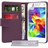 Yousave Accessories PU Leather Wallet Cover for Samsung Galaxy S5 Mini - Purple