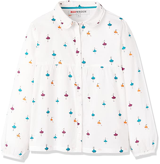 RED WAGON Blusa Estampada de Manga Larga para Niñas, Blanco (White), 4