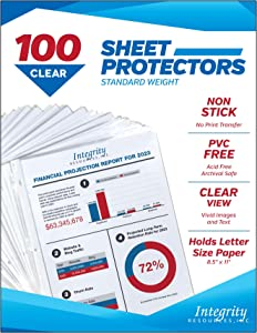Integrity Resources Crystal Clear Durable Sheet Protectors, Archival Safe, PVC Free, Acid Free, Polypropylene, 8.5 x 11 Inch, Top Loading, 3 Hole Punched for Standard 3 Ring Binder, 100 Pack, 52502