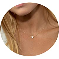 """Facocy Initial Heart Necklace,14K Gold Plated Children Necklace Handmade Dainty Monogram Name Choker Necklace 14"""" Adjustable Personalized Tiny Charm Alphabet Letter Necklace Minimal Jewelry"""