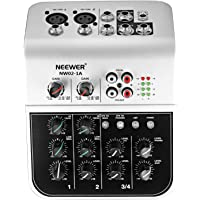 Neewer Mixing Console Compact Audio Sound 4-Channel Mixer with 48V Phantom Power 2 Band EQ 2-way Stereo Line Input RCA Input/Output 4 Band LED Level Indicator