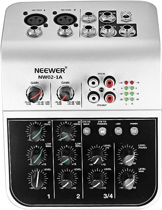 Neewer NW02-1A 4 Canales Mesa Consola de Mezclas Económico para ...