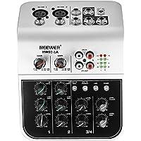 Neewer NW02-1A Console de Mixage Économique à 4 Canaux pour Micro à Condensateur, Mélangeur Audio Compact avec Alimentation Phantom 48v Égaliseur 2 Bandes EQ Entrée Ligne Stéréo 2 Voies RCA
