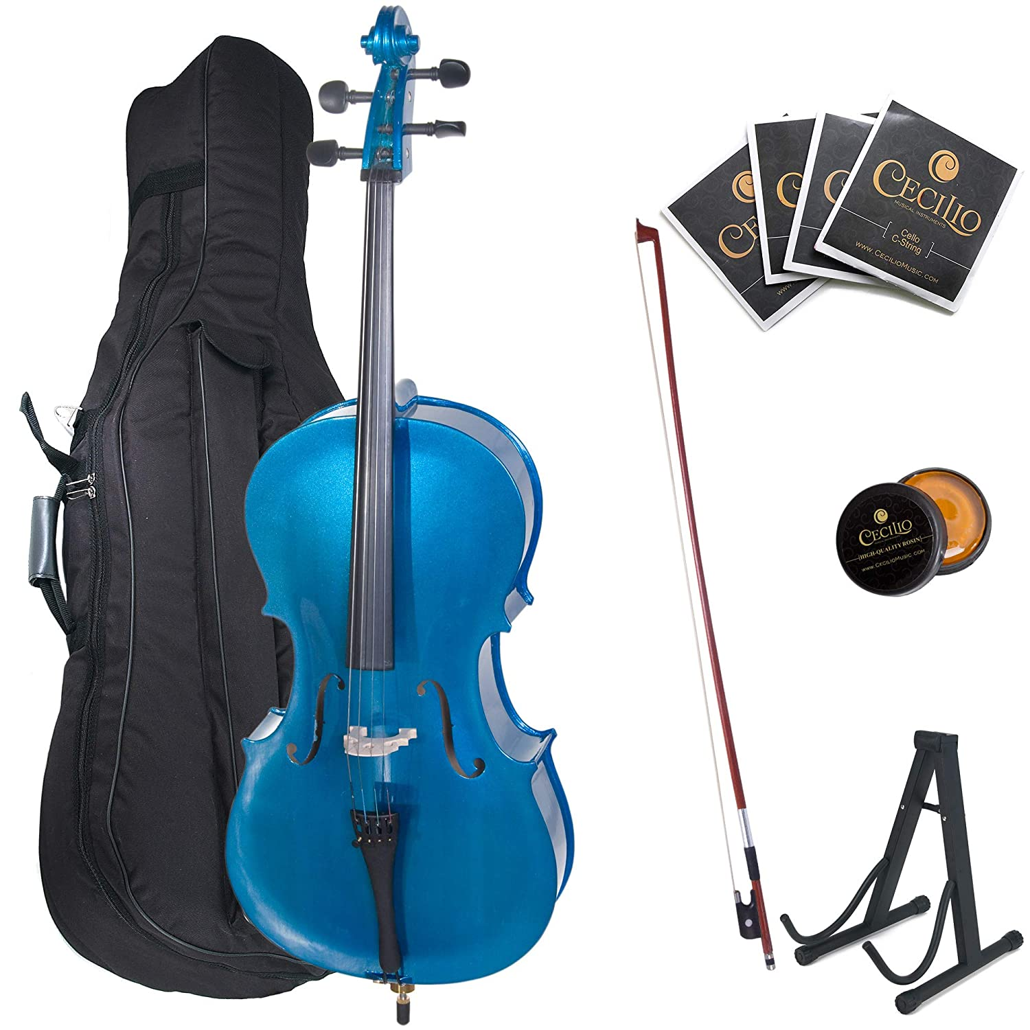 Cecilio CCO-100 Student Cello with Soft Case, Stand, Bow, Rosin, Bridge and Extra Set of Strings, Size 4/4 (Full Size) Cecilio Musical Instruments 4/4CCO-100