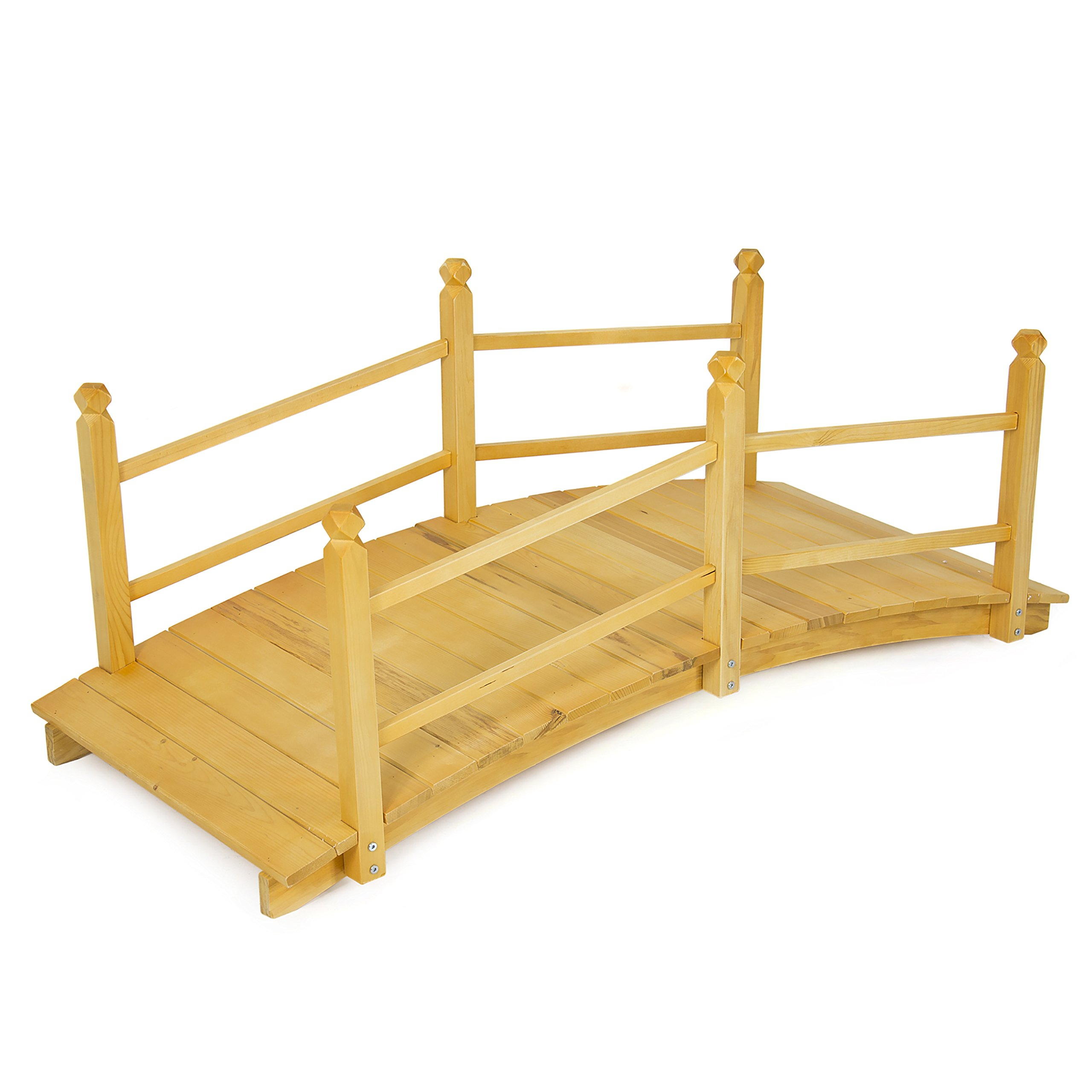 Best Choice Products Wooden Bridge 5'  Natural Finish Decorative Solid Wood Garden Pond Bridge New