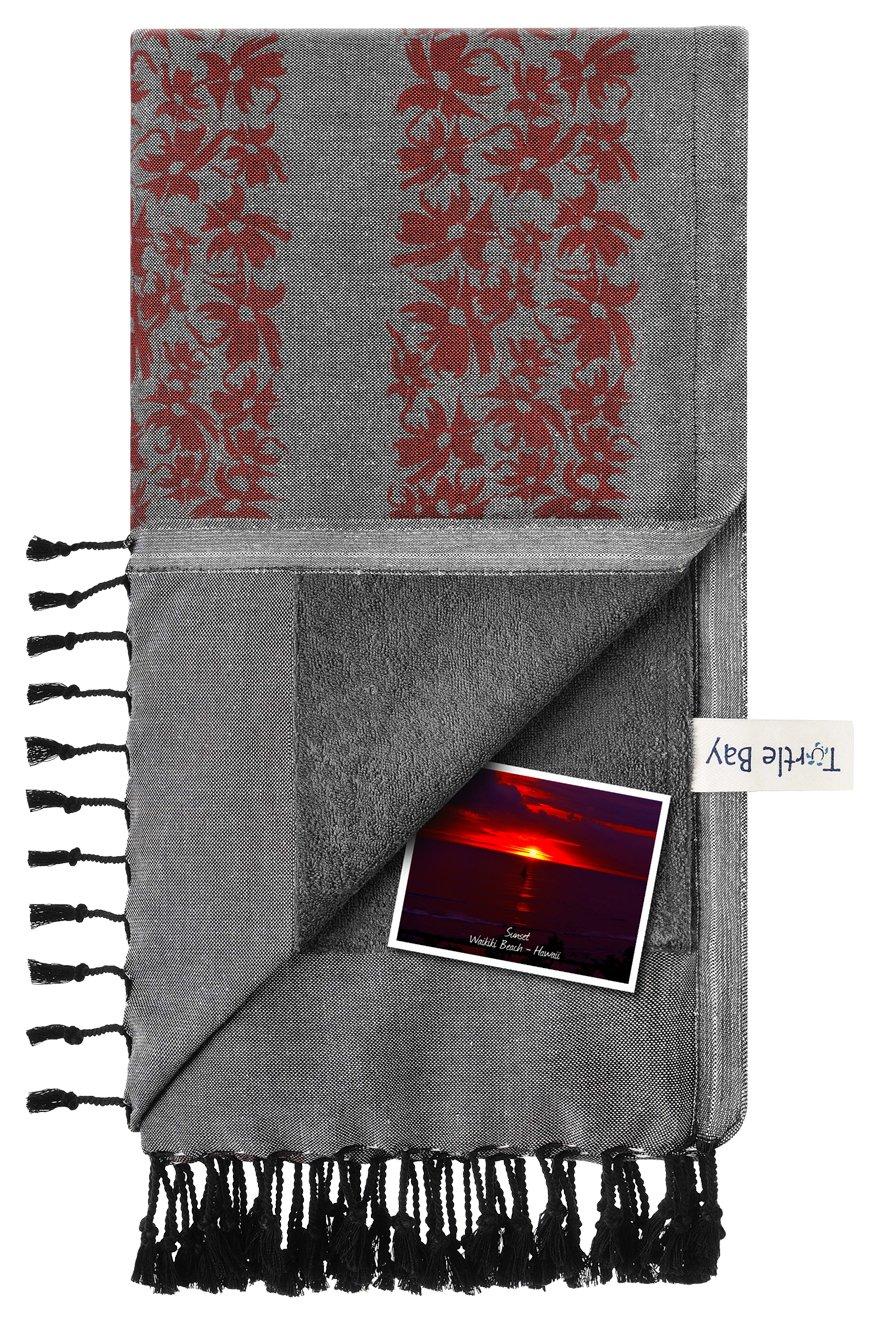 Turtle Bay Toalla de playa/Pareo - Toalla de baño - Kikoy Towel Hawaiian Stripe - Color : Black/Poppy Red - Tamaño : 95 x 170 cms: Amazon.es: Hogar